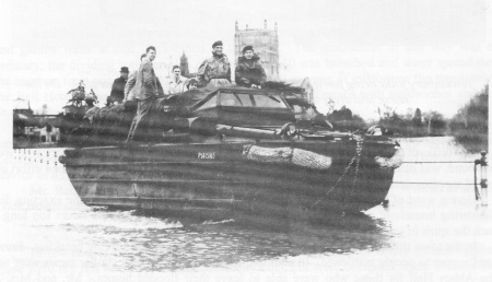 Amphibious vehicle known as a 'Duck', manned by Royal Marines on<br>Gloucester Road (which is at same level as in 1947).